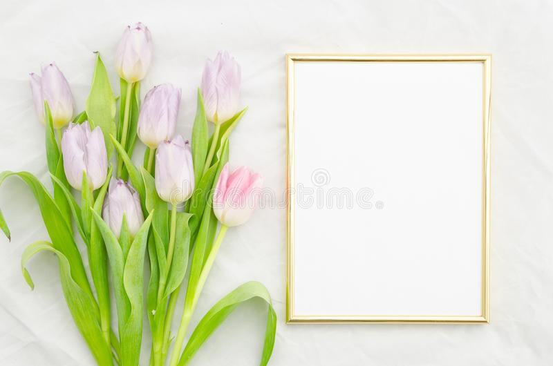 Trendy mock up with pink tulips and golden empty frame. Flat lay, top view. Mockup template copy space vertical stock photo