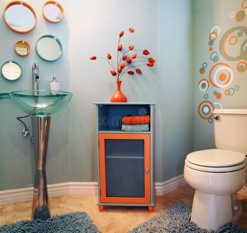 Download Trendy modern bathroom stock photo. Image of cabinet, bathroom - 9333082