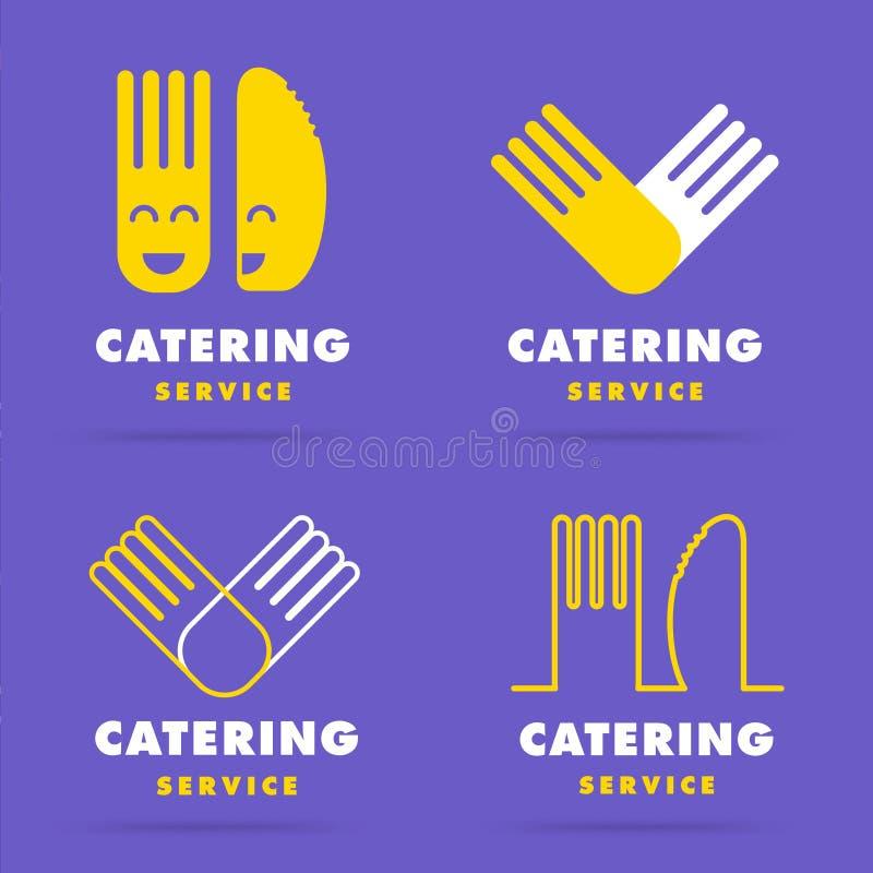 Trendy modern smooth line catering logo. Set of restaurant cooki stock illustration