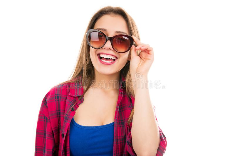 Trendy modern woman in sunglasses royalty free stock images