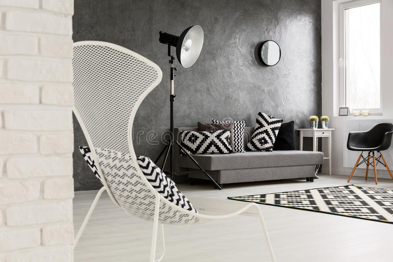 Download Trendy Monochromatic Grey Living Room Stock Image