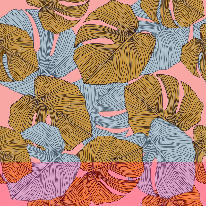 Free Trendy Monstera Leaves Backdrop. Tropical Pattern, Botanical Leaf Seamless Pattern On Pink Background Stock Images - 159850024