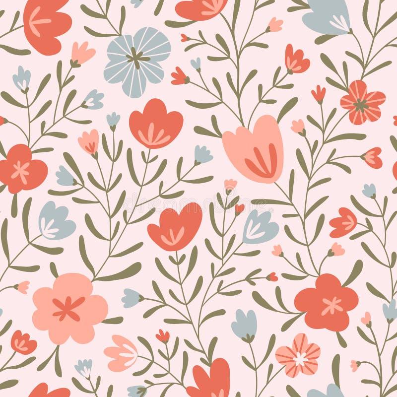Trendy naadloos florale misvormingspatroon Het ontwerp van de stof met eenvoudige bloemen Vectorschattig herhaald patroon voor ba stock illustratie