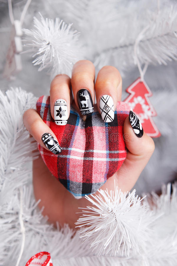 Trendy nails for winter royalty free stock photos