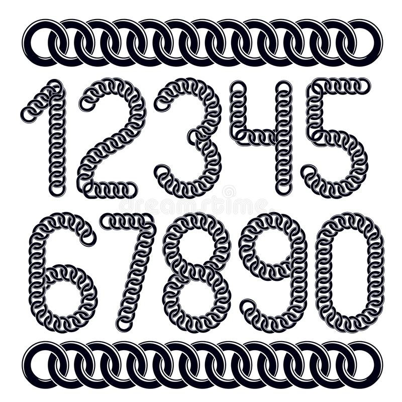 Trendy numbers collection, vector numeration. Created using conn. Ected chain link vector illustration