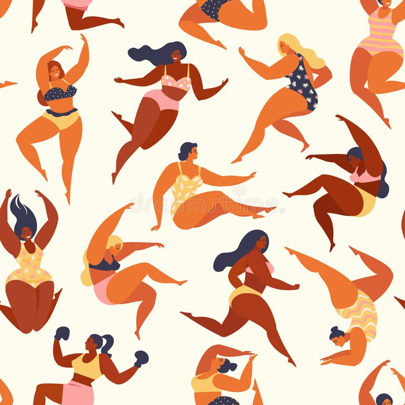 Trendy pattern with girls in summer swimsuits. Body positive. Vector seamless pattern. stock illustration