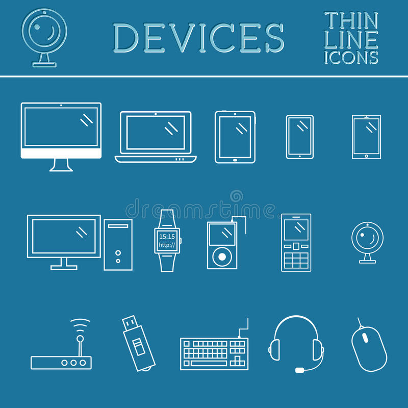 Trendy Pc Computer Mobile Gadgets And Device Line Icons Mono