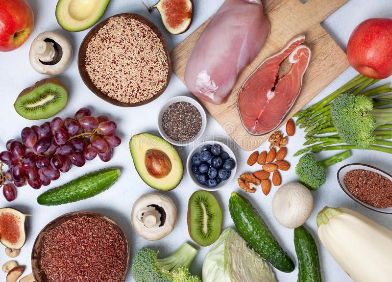 Pegan diet products. Trendy pegan diet. pegan diet products : meat, fish, cereals, vegetables, nuts and berries. view from above royalty free stock photo