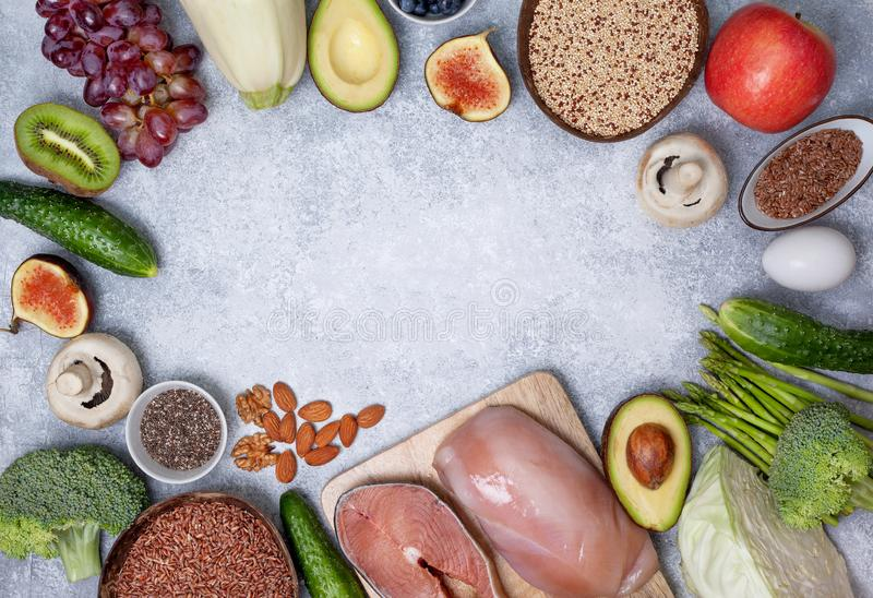 Pegan diet products. Trendy pegan diet. pegan diet products : meat, fish, cereals, vegetables, nuts and berries. view from above stock image