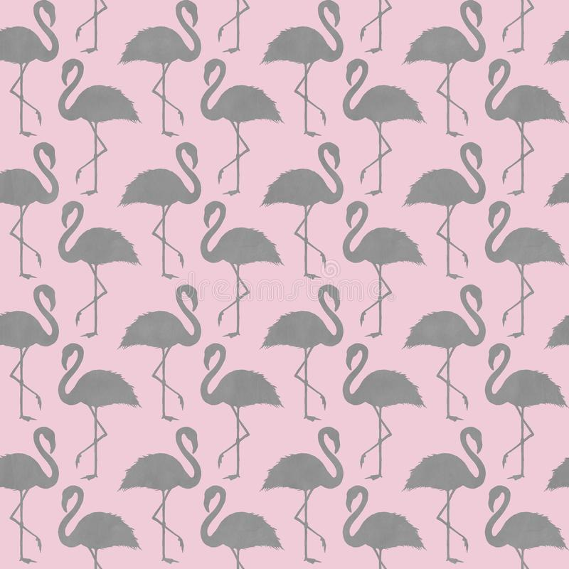 Trendy pink and gray flamingo seamless pattern. Abstract pink and gray flamingo seamless pattern. Gray hand drawn flamingos silhouette ornament on light pink royalty free stock images