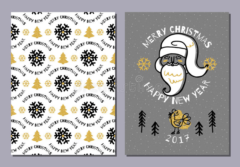 Trendy postcard Merry Christmas Happy New Year 2017, Holiday card vector illustration