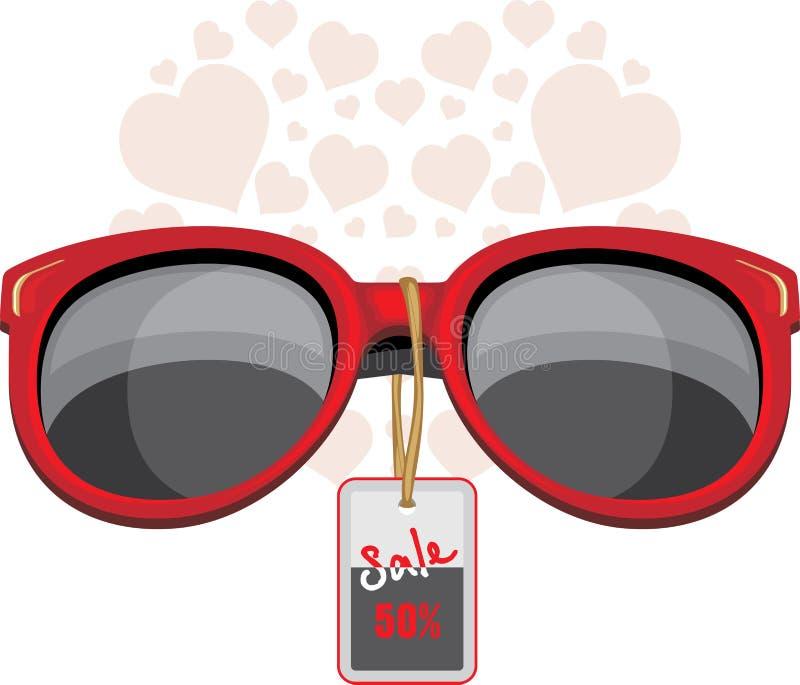 Trendy red sunglasses. Sale stock illustration