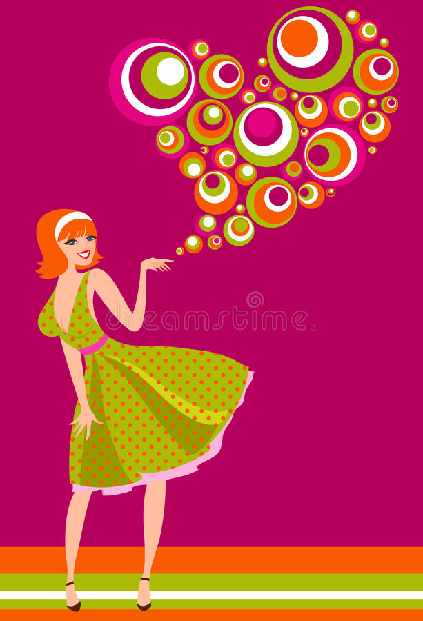 Trendy retro Valentines card. Valentines girl with big patterned heart, retro illustration in 1950's and 1960's style royalty free illustration