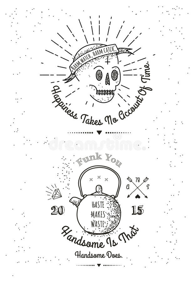 Trendy Retro Vintage Insignias - tattoo Badges - dot work vector illustration