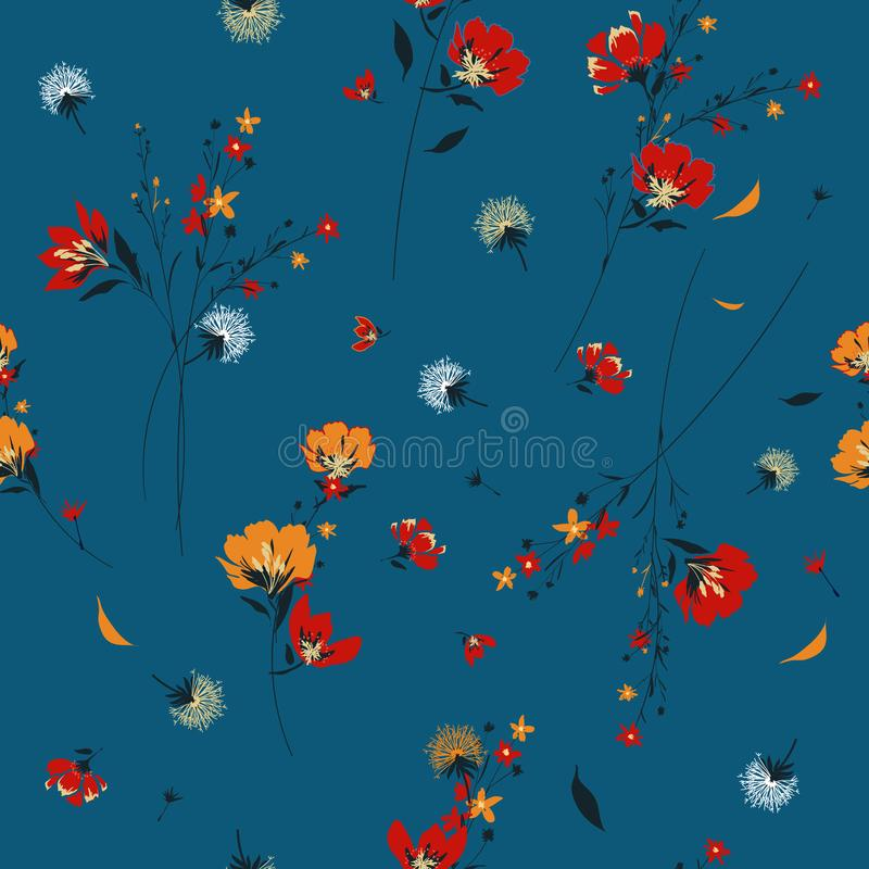 Trendy retro wild flower pattern in the many kind of flowers.Bo royalty free illustration