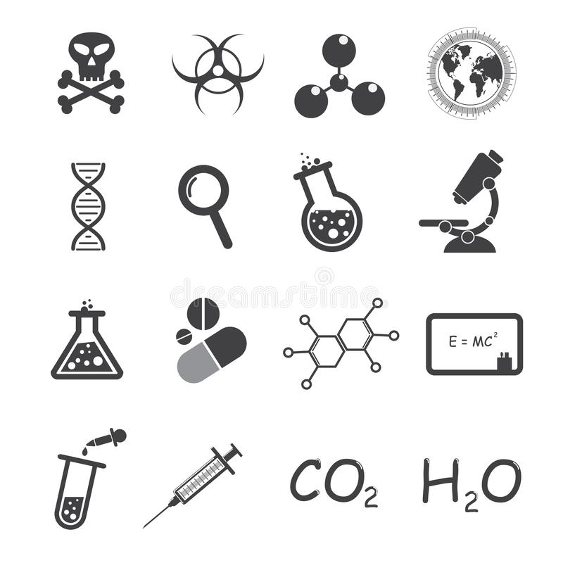 Trendy science vector icons on white background. Is a general illustration stock illustration