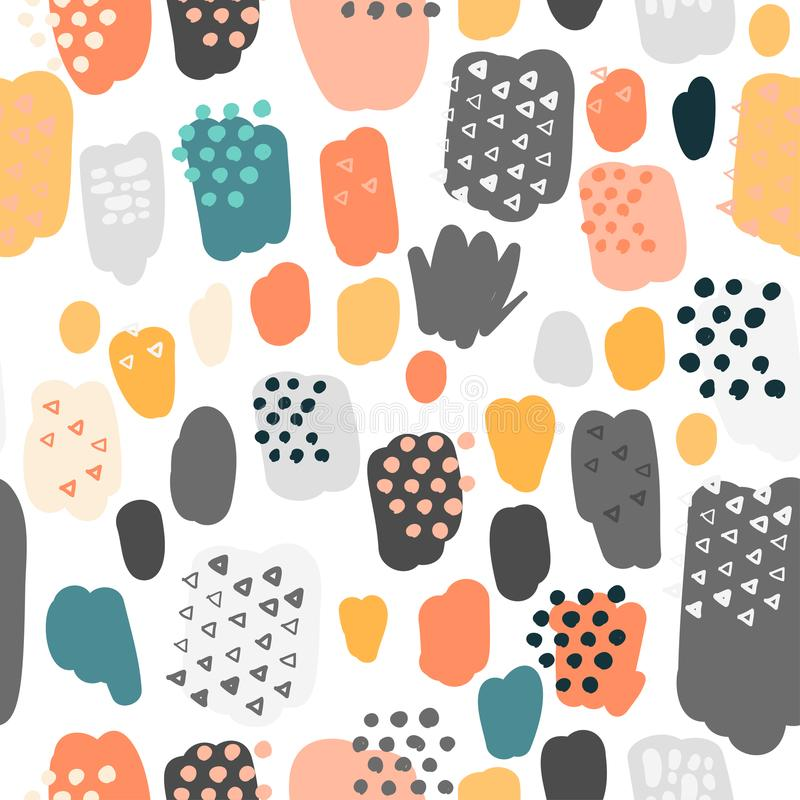 Trendy scribbles seamless pattern in pastel colors royalty free illustration