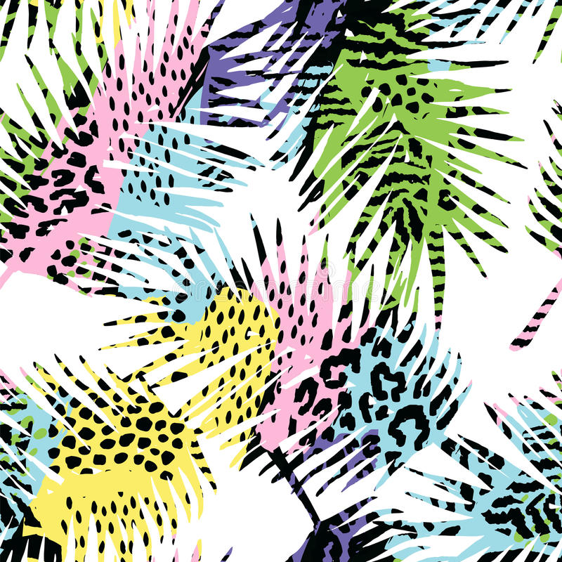 Trendy seamless exotic pattern with palm, animal print and hand drawn textures. Vector illustration. Modern abstract design for paper, wallpaper, cover, fabric royalty free illustration
