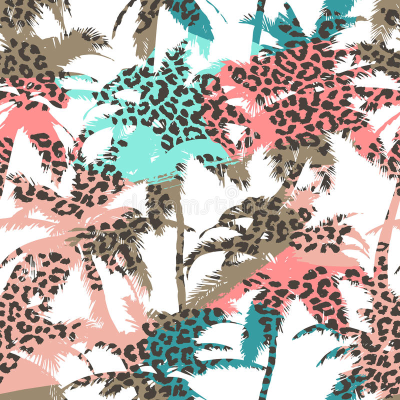 Trendy seamless exotic pattern with palm and animal prints . Modern abstract design for paper, wallpaper, cover, fabric royalty free illustration