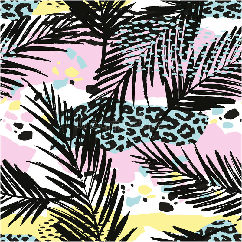 Trendy seamless exotic pattern with palm vector illustration