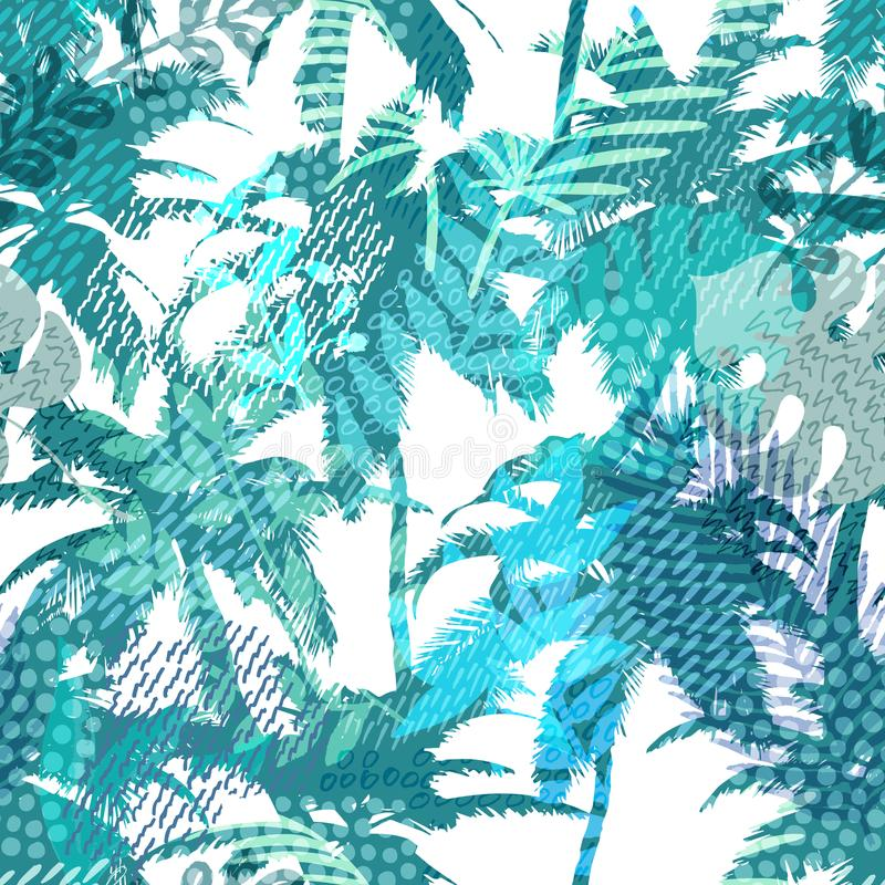 Trendy seamless exotic pattern with palm, tropical plants and hand drawn textures. Modern abstract design for paper stock illustration