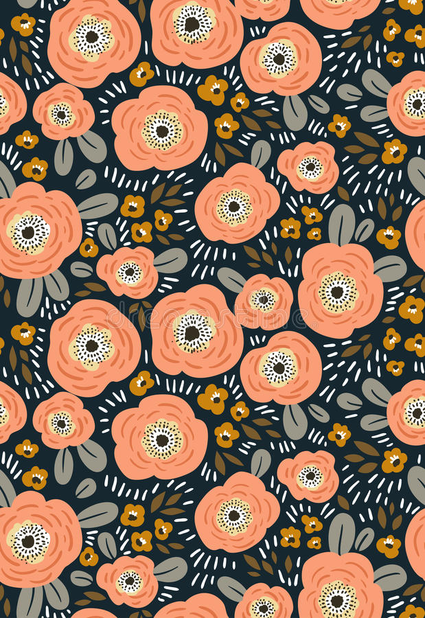 Trendy seamless floral ditsy pattern. Fabric design with simple flowers. Vector seamless background. royalty free illustration