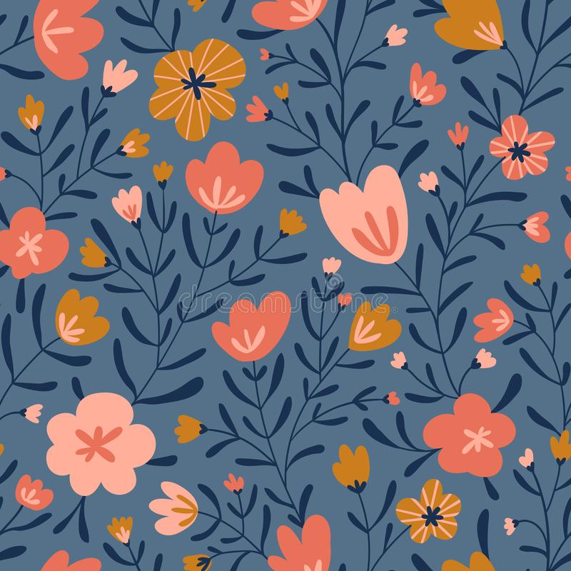 Free Trendy Seamless Floral Ditsy Pattern. Fabric Design With Simple Flowers. Vector Cute Repeated Pattern For Baby Fabric, Wallpaper Stock Images - 164308834