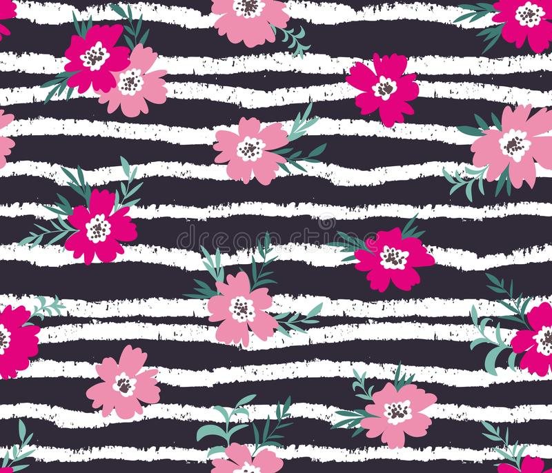 Trendy seamless floral ditsy pattern with grunge stripes. Fabric design with simple flowers. stock illustration