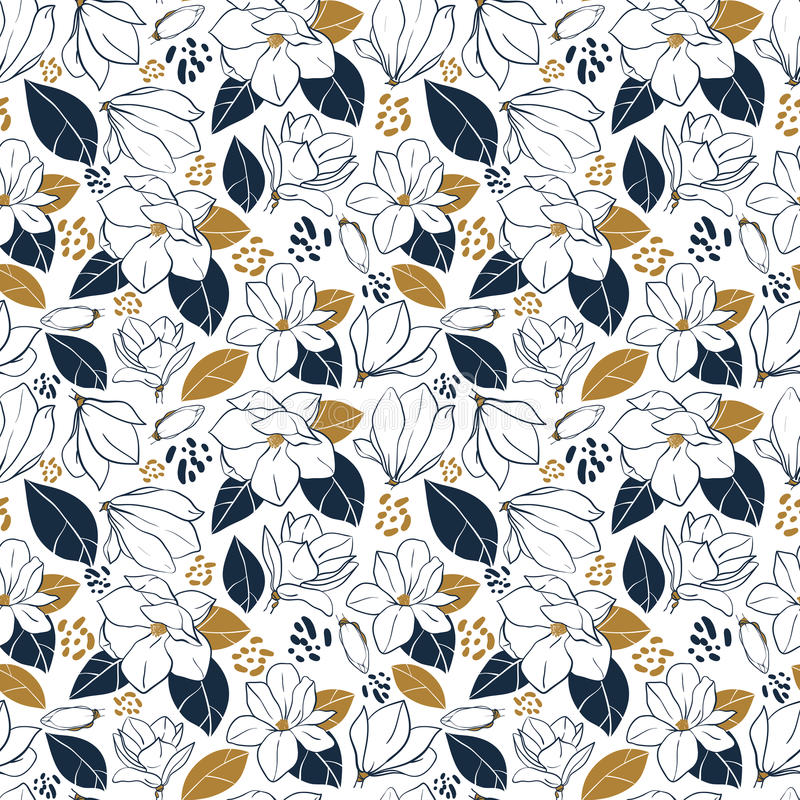 Trendy seamless floral pattern with magnolia flowers,buds and leaves in deep blue and mustard colors. Vector hand drawn illustrati royalty free illustration