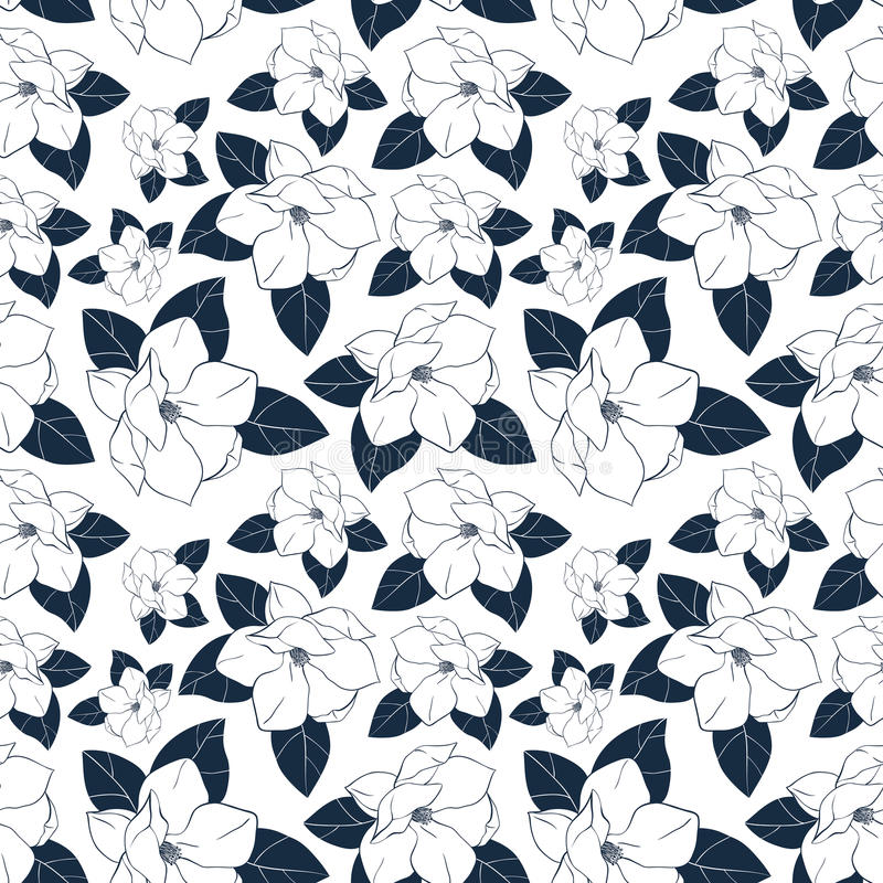 Trendy seamless floral pattern with magnolia flowers and leaves. Vector hand drawn illustration for print,textile,wrapping paper. stock illustration