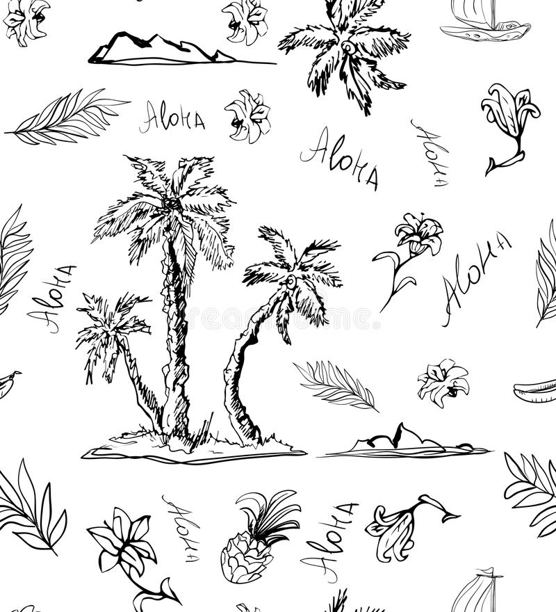 Trendy Seamless island floral pattern on white background. Landscape with palm trees, beach and ocean vector. Hand drawn style. Seashore beach with palm trees vector illustration