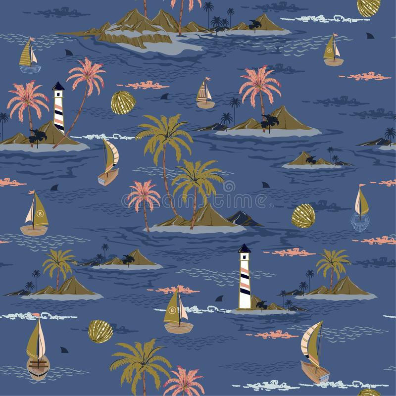 Trendy seamless island pattern Landscape with palm trees,beach and ocean vector hand drawn style on stylish ocean blue color. Background design for fashion vector illustration