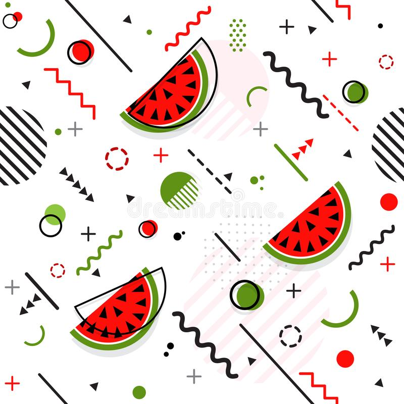 Trendy seamless, Memphis style watermelon geometric pattern, vector royalty free illustration