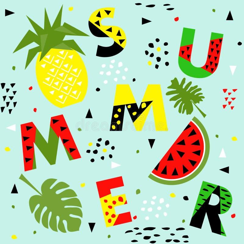 Trendy seamless, Memphis style watermelon and pineapple geometric pattern, vector illustration stock illustration