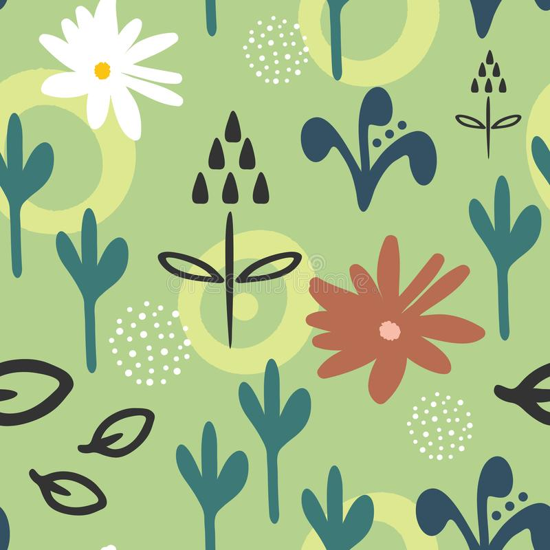 Trendy seamless pattern with abstract flowers drawn by hand. Floral sketch, doodle. vector illustration