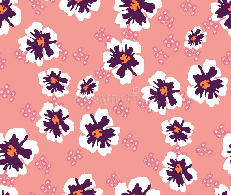 Trendy Seamless Pattern with Decorative Flowers. Repeating Design for Fabric Prints. Small Flowers. Pink background. Modern Floral. Background. Ready for vector illustration