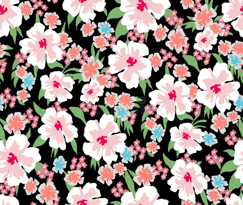 Trendy Seamless Pattern with Decorative Flowers. Repeating Design for Fabric Prints. Small Multicolor Flowers. Black background. M. DecorativeTrendy Seamless stock illustration