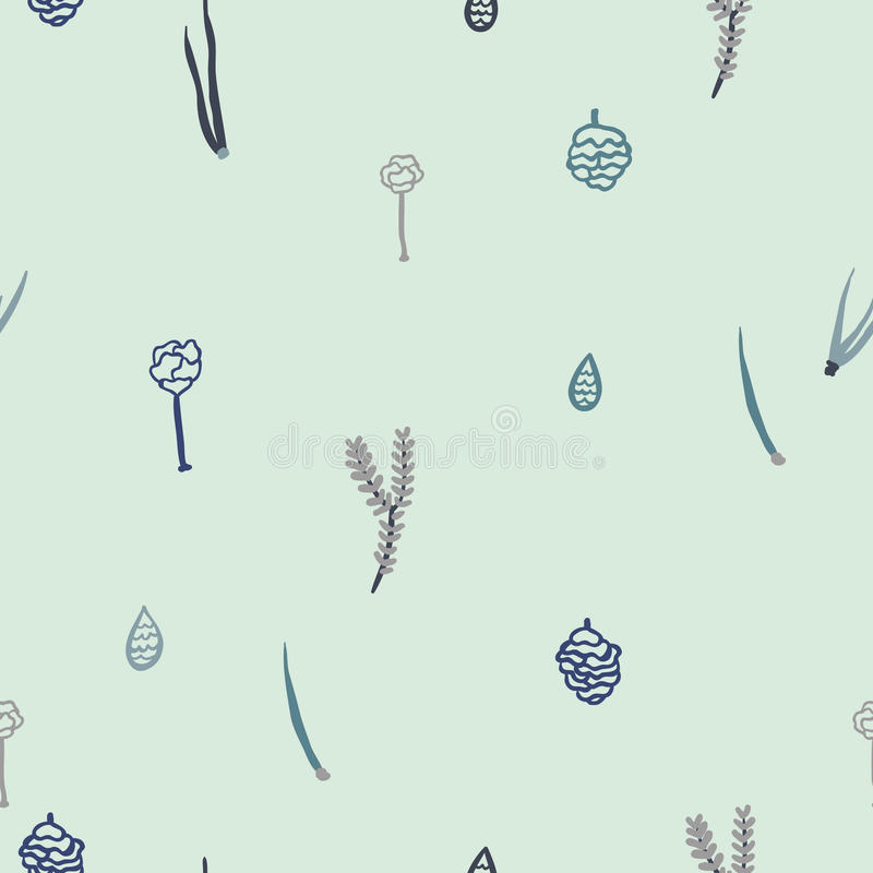 Trendy seamless pattern with forest plants, leaves,, seeds and cones. stock illustration