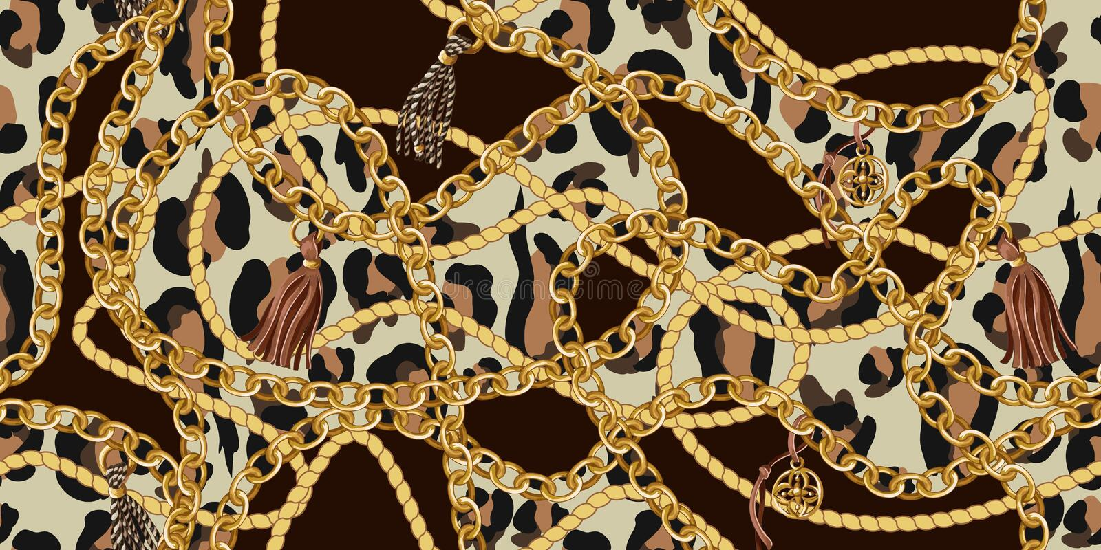 Trendy seamless pattern with gold chains and rope on leopard skin. Vector. stock illustration