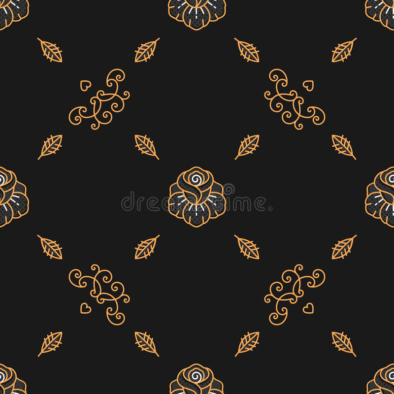 Trendy seamless pattern, minimal floral ornament, Scandinavian Art Deco style vector illustration