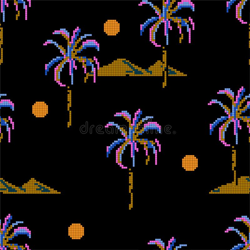 Trendy Seamless pattern Palm trees and island mountain pixle  in vector illustration. Design for fashion , fabric, web ,wallpaper. Wrapping  and all prints on royalty free illustration