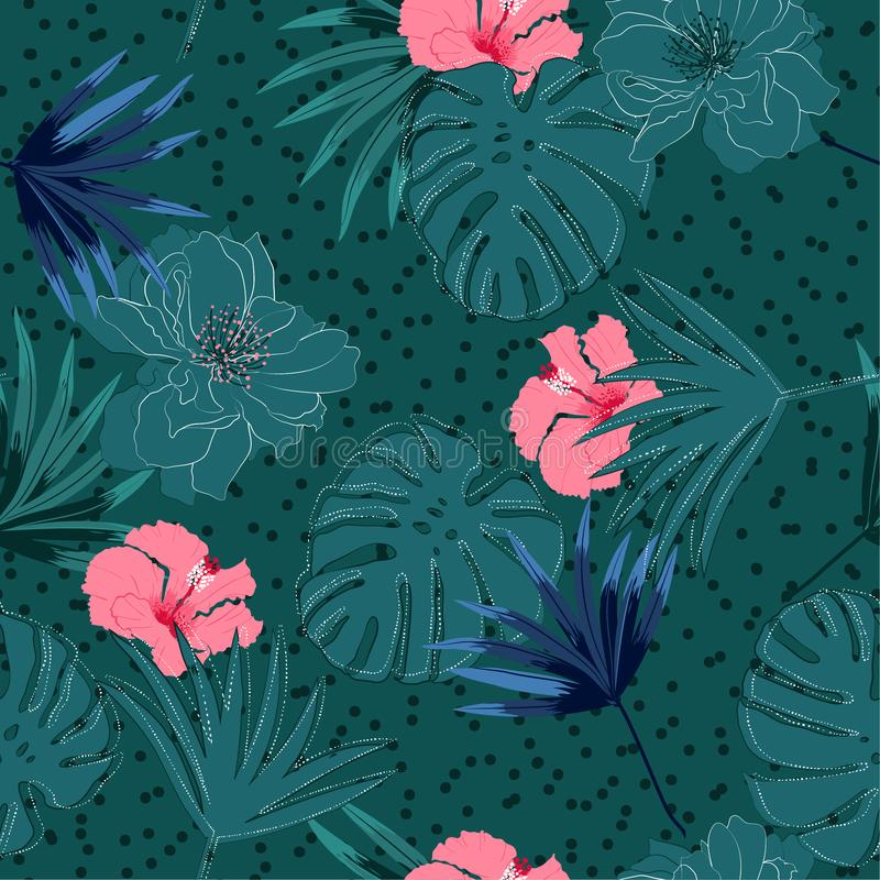 Trendy seamless pattern summer Tropical palm leaves and hibiscus and exotic forest flowers white hand drawn line layer on polka royalty free illustration