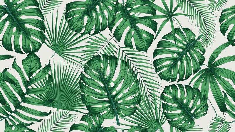 Trendy seamless tropical pattern with exotic leaves and plants jungle vector illustration