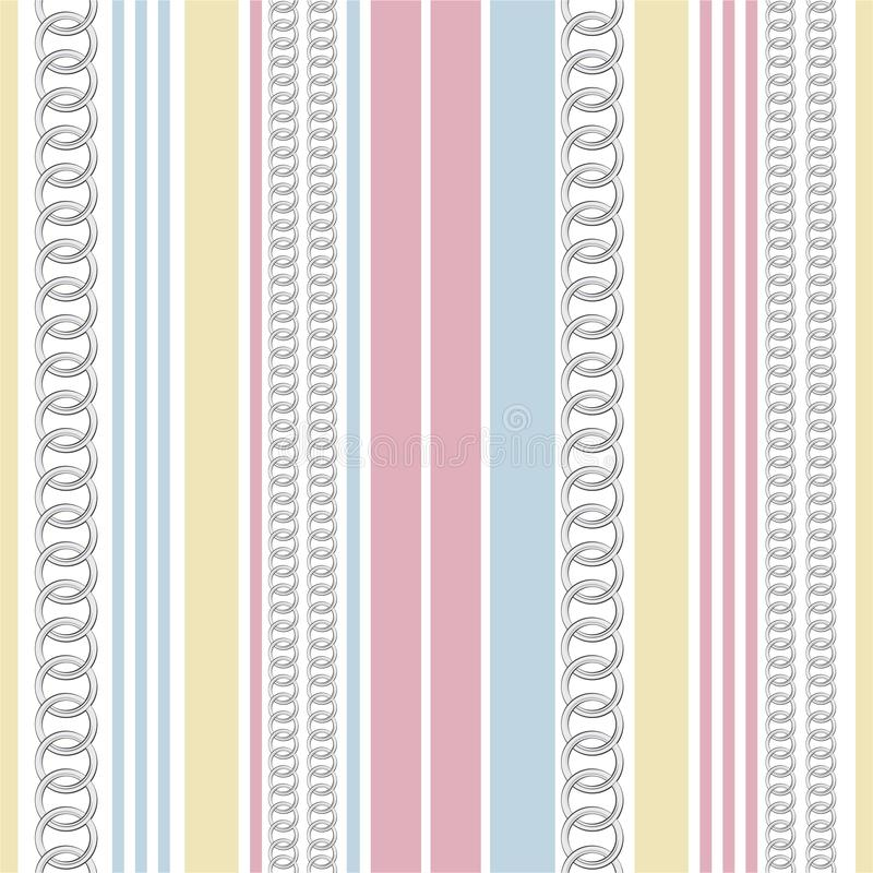Trendy Seamless vector pattern background sweet pastel vertical stripe with chain, and summer nautical mood design for fashion, royalty free illustration