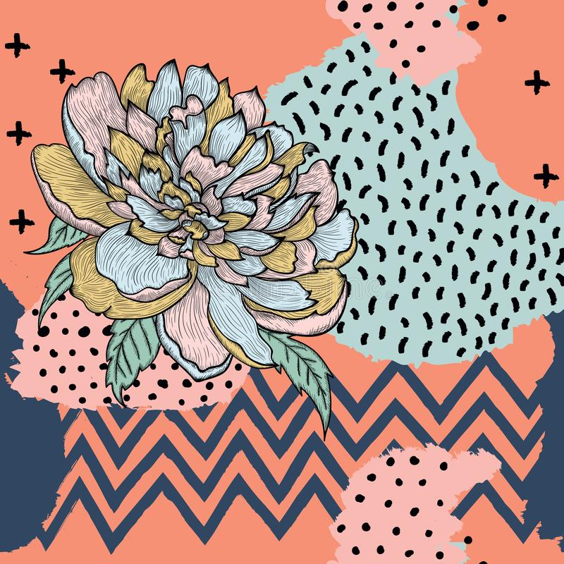 Trendy seamless vector pattern with graphic peony stock illustration