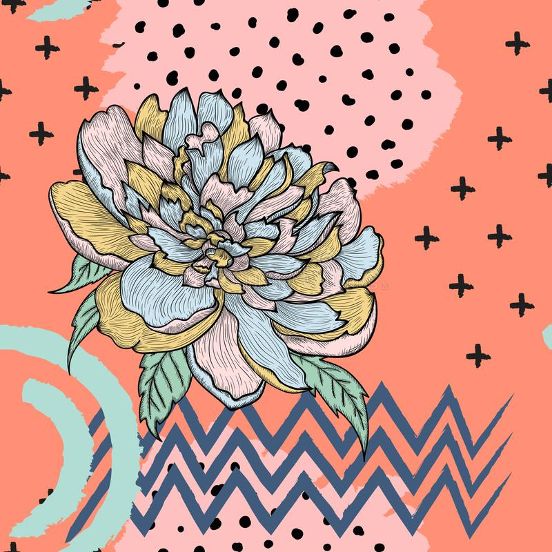 Trendy seamless vector pattern with graphic peony royalty free illustration