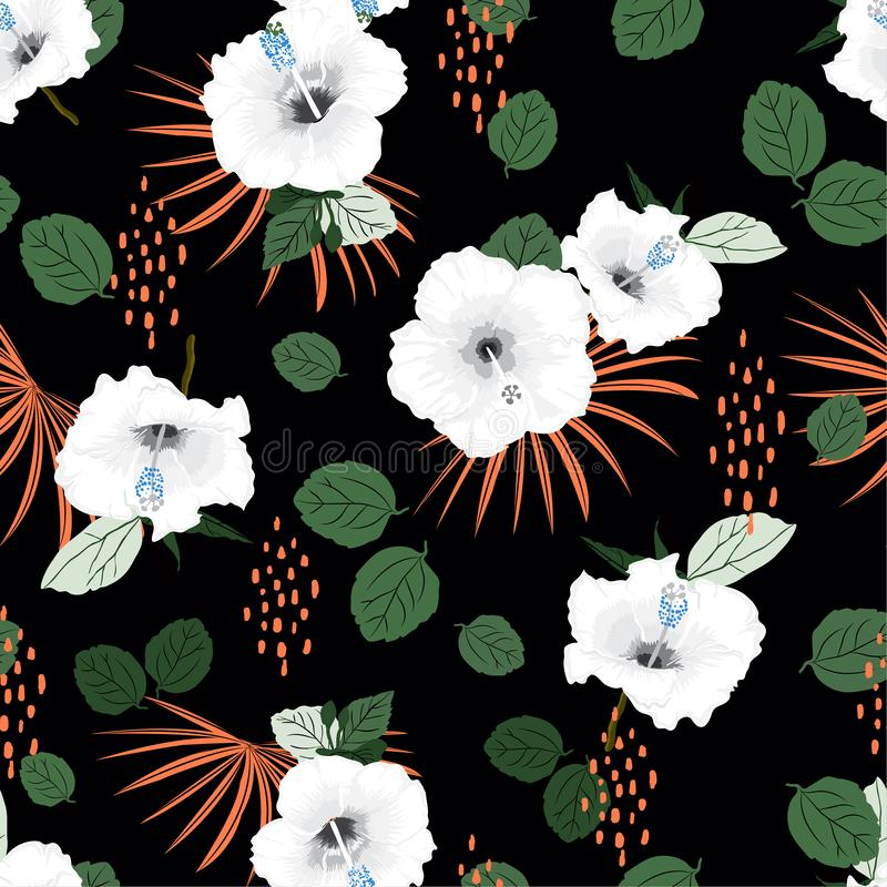 Trendy Seamless vector white hibiscus exotic floral pattern, spring summer background with tropical flowers, palm leaves, Hawaiian stock illustration