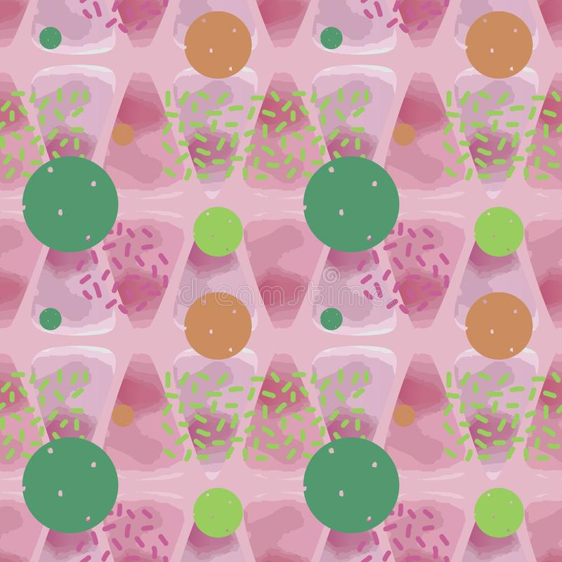 Trendy seamless watercolor pattern with soft colorful background abstract triangle and circle. Trendy multicolor seamless watercolor pattern with soft colorful royalty free illustration
