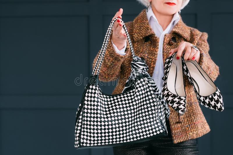 Trendy senior wardrobe female style elegance royalty free stock photography
