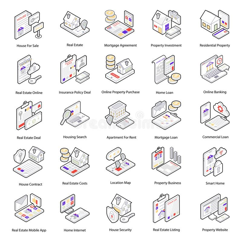 Real Estate Icons Pack royalty free illustration